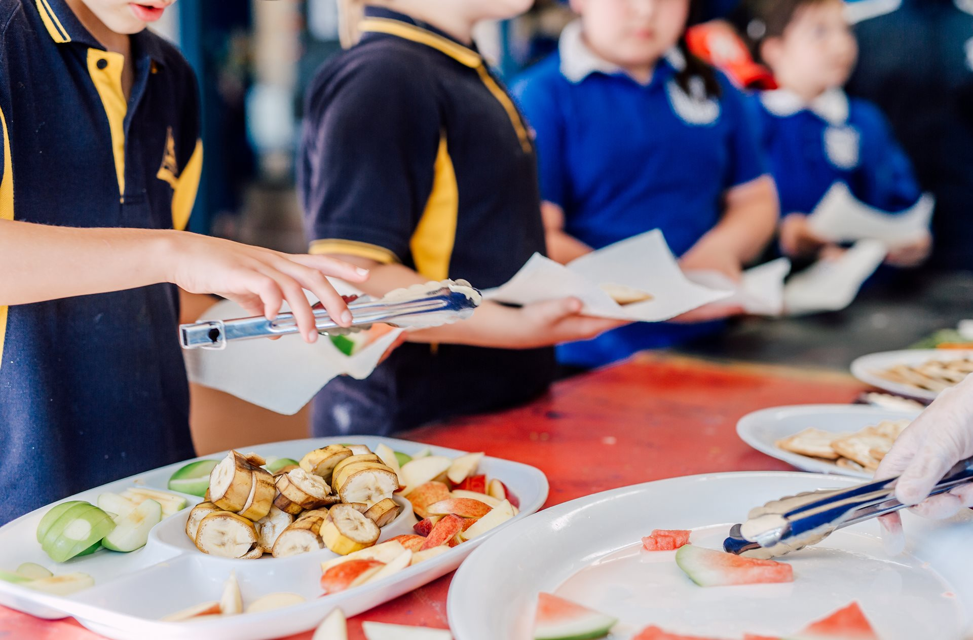 Children gather around lunch food at School mates